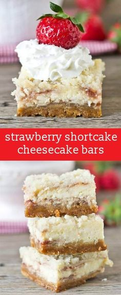 Strawberry Shortcake Cheesecake Bars: Golden Oreo crust, strawberry swirled cheesecake and amazing streusel on top. Serve with strawberries & whipped cream! homemade cheesecake bars / oreo cheesecake crust / strawberry cheesecake recipe via Homemade Cheesecake, Cheesecake Bars, Cheesecake Recipes, Köstliche Desserts, Delicious Desserts, Health Desserts, Summer Desserts, Strawberry Shortcake Cheesecake, Strawberry Dessert Recipes