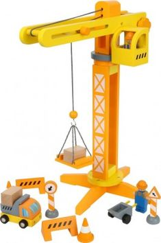 Small Foot 12007 Wooden Crane FSC Certified with Construction Site Accessories 13 Pieces 360 Degree Rotation for Small Builders Toys Multi-Colour Disney Pixar Cars, Construction, Amazon, Photos, Drilling Rig, Wooden Toys For Kids, Playroom Table, Twists, Filling Station