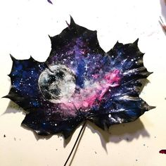 Galaxy leaf. Acrylic paint and ink. by ArtNoobly - 9GAG