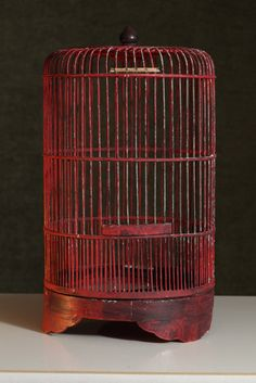 Hey, I found this really awesome Etsy listing at https://www.etsy.com/listing/223700600/vintage-wood-red-bird-house-cage