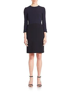 Narciso Rodriguez Crepe Colorblock Dress - Navy - Size 46 (10)