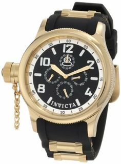 Invicta Men's 1801 Russian Diver Black Dial Black Polyurethane Watch Invicta. $101.99. Mineral crystal; polished 18k gold ion-plated stainless steel case; black polyurethane strap with 18k gold ion-plated barrel inserts. Water-resistant to 100 feet (330 m). 60 second, 24 hour, day and date subdials. Black dial with gold tone hands, white hour markers and arabic numerals; luminous; 18k gold ion-plated stainless steel coin edge bezel; secured screw-down cap on crown...