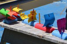 Rain gutter regatta DIY Pool Noodle Boat and other pool noodle fun Noodles Games, Pool Noodle Games, Swim Noodles, Pool Noodle Crafts, Water Noodles, Vbs Crafts, Camping Crafts, Crafts For Kids, Bible Crafts