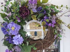 Hey, I found this really awesome Etsy listing at https://www.etsy.com/listing/184677946/purple-foral-spring-wreath-decorated