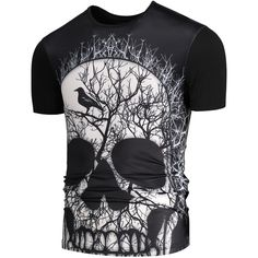 3D Skull Branch Printed Round Neck T shirt (535 MKD) ❤ liked on Polyvore featuring men's fashion, men's clothing, men's shirts, men's t-shirts, men's round neck t shirts, mens skull t shirts and mens skull shirts