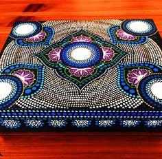 Large hand painted wooden box keepsake Lotus por DotsMania