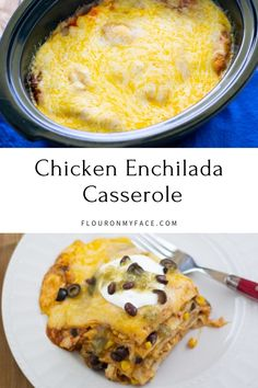 Use left over chicken or a rotisserie chicken to make this easy Crock Pot Chicken Enchilada Casserole recipe Crockpot Chicken Enchilada Casserole, Slow Cooker Enchiladas, Crockpot Breakfast Casserole, Casserole Recipes, Cooked Chicken Recipes Leftovers, Leftover Rotisserie Chicken, Slow Cooker Soup, Slow Cooker Recipes, Crockpot Recipes