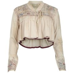 Afghan Jacket ($65) ❤ liked on Polyvore featuring outerwear, jackets, tops, shirts, blouses, cropped jacket, allsaints, embroidered jacket, pink jacket and pink cropped jacket