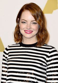 Emma Stone at the 2015 Academy Awards Nominee Luncheon. http://beautyeditor.ca/2016/03/09/best-makeup-for-redheads