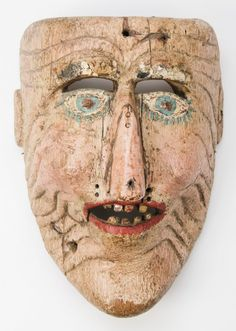 "Antique Guatemalan Festival Mask, carved wood, paint. Size: 8"" x 6"" 4.5"" (20 x 15 x 11 cm) | circa. 19th century"