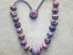 Handmade Lampwork Bead Necklace  Pinks and by JudyDalyReganti, $175.00