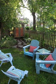 outdoor space adirondack chairs lights trumpet vine - Google Search