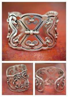 Cuff Bracelet Mexico Sterling Silver Sergio Taxco - Yourgreatfinds, Vintage Jewelry - 1