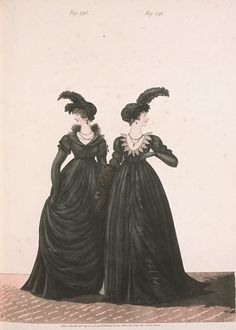 Evening (Mourning) Dresses, April 1801, Gallery of Fashion Fig. 295 Fig. 296