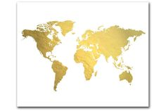 A trendy (genuine) gold foil world map. Perfectly brilliant and shiny, this print is the ideal accent piece - it will grab attention with its