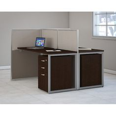 """Facing desks with grey divider Overall: 45"""" H x 60"""" W x 24"""" D Partition Screen: 45"""" H Legs: 29"""" H x 60"""" W x 24"""" D Desk: 29"""" H x 60"""" W x 24"""" D Filing Cabinet Dimensions: 25"""" H x 16"""" W x 20"""" D"""
