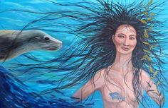Sedna, a beautiful Inuit girl, became, and still is today, the goddess of the sea. Sedna's companions are the fish, seals and whales that sit with her at the bottom on the ocean. Her anger and fury against man is what drums up the violent seas and storms. Hunters have a great respect for her. Legend has it that Shaman's from the world above must swim down to her to comb her long black tangled hair in order to calm her down so that she does not release her fury.