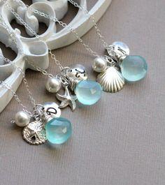 Set of THREE Personalized Beach Wedding Necklaces, Sand Dollar, Starfish, Sea Shell, Monogram Initial Charm, Silver Bridesmaid Necklaces via Etsy