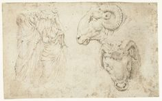 Drie standbeelden en twee studies van een ramskop op een kandelaar, Maarten van Heemskerck, anoniem, 1532 - 1536;   pen in bruin, h 129mm × b 206mm. Rijksmuseum, Amsterdam.
