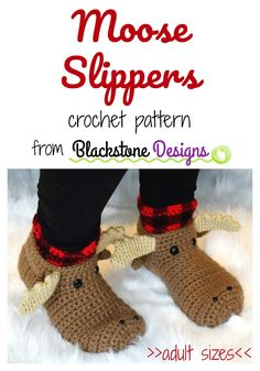 Learn Crochet Moose Slippers crochet pattern from Blackstone Designs -- Adult sizes S M L XL instructions included in pattern. Easy Crochet Projects, Diy Crochet, Easy Crochet Socks, Crochet Hats For Cats, Crochet Socks Pattern, Learn Crochet, Crotchet Patterns, Crocheting Patterns, Crochet Fall