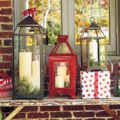 weihnachtliche Deko ideen Haustür laternen