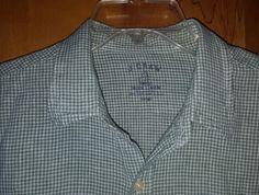 J.Crew Irish Linen Green Gingham Check Baird McNutt Men's Dress Shirt L MINT #JCrew $29.99