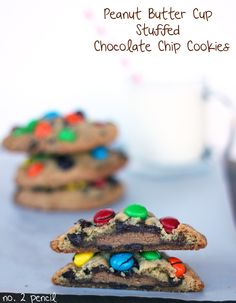 Peanut Butter Cup Stuffed Chocolate Chip Cookies with Peanut Butter M&M's