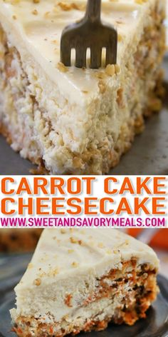 Carrot Cake Cheesecake is a delicious dessert that is mixing two of the best cakes together in one. It is the perfect cake to go with on your Easter table. Desserts Carrot Cake Cheesecake Video - Sweet and Savory Meals Carrot Recipes, Easy Cake Recipes, Best Dessert Recipes, Baking Recipes, Cookie Recipes, Easter Recipes, Diabetic Carrot Cake Recipe, Easter Meal Ideas, Hawaiian Dessert Recipes
