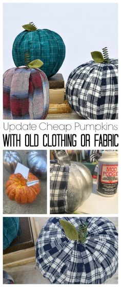 Adding old flannel shirts to pumpkins is a great way to reuse what you already have to create farmhouse decorations for fall. Easy Fall Crafts, Fun Diy Crafts, Holiday Crafts, Decor Crafts, Diy Pumpkin, Pumpkin Crafts, Pumpkin Ideas, Autumn Decorating, Pumpkin Decorating