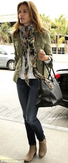 Military jacket, white shirt, patterned scarf, jeans, and boots...PERFECTION!!