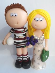 Rugby player Groom & Medic Bride wedding cake topper www.googlygifts.co.uk
