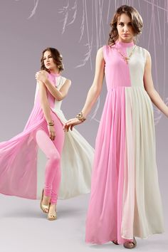 white and pink stylish evening wear georgette kurtis and tunics 6942