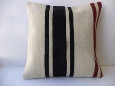 "Handmade Kilim Pillow Cover,20""x20"" inch Ethnic Stripe Pattern White Black Red Vintage Turkish Kilim Rug Pillow Cover,Big Size Pillow."