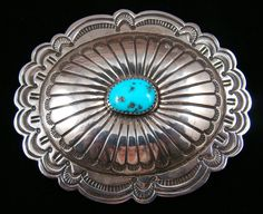 Item #797B- Navajo Turquoise Concho Belt Buckle by J.Blackgoat Concho Belt, Belt Buckles, American Indian Jewelry, Silver Belts, Watch Necklace, Ethnic Jewelry, Native American Indians, Wild West, Turquoise Jewelry