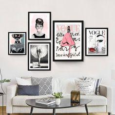 Vogue Posters - Fashion Wall Art - Chanel - Set Of 5 Fashion Prints - Printable - Audrey Hepburn - Home Decor - Gift For Her - Vogue 1950 Diy Fashion Decor, Fashion Wall Art, Fashion Prints, Fashion Design, Fashion Bedroom, Wall Art Designs, Wall Design, Design Room, Art Chanel