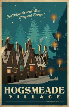 Spend your weekends at Hogsmeade! Fantastic, vintage style Harry Potter inspired travel poster. Comes with out signature. If youd like me to sign my