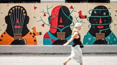 10#UOBARCELONA – AGOSTINO IACURCI Murals Street Art, Street Art Graffiti, Amazing Street Art, Amazing Art, Mural Wall Art, Mural Painting, Colorful Wall Art, Feminist Art, Jolie Photo