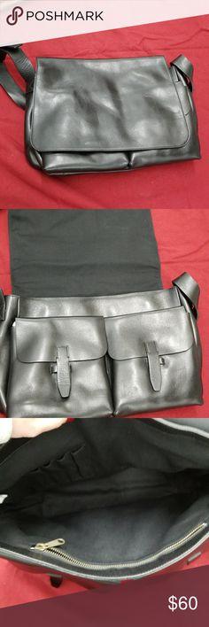Men's leather bag Nwot Black leather messenger bag. Fold over closure Approx meas L 15.5 W 4.5 H 10 Strap adjustable longest at 40 Bags Messenger Bags