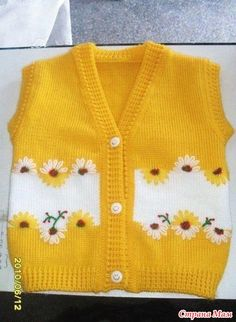 I found great knitting vest idea. Kids Knitting Patterns, Sweater Knitting Patterns, Knitting For Kids, Knitting Designs, Hand Knitting, Crochet Patterns, Knitting Ideas, Crochet Baby Blanket Beginner, Crochet Baby Dress Pattern