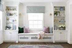 Interior Design Ideas: Colorful Interiors - Home Bunch Interior Design Ideas I love the idea of adding a window-seat on the other side of the living room (instead of flanking the fireplace). This expands and balances the room. Bedroom Windows, Living Room Windows, Living Room Decor, Living Rooms, Window Seats Bedroom, Dark Wood Living Room, Living Room Bench, Bay Windows, Living Room Flooring