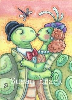 SLOW AND STEADY GETS THE GIRL - Original Turtle Art By Susan Brack ACEO Trading Card EBSQ