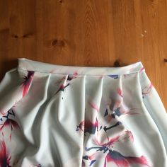 Hand Made Pink & White Floral Print Skirt - Hand Made Floral Knee Length Skirt - Custom Made Pleated Skirt by SarahJaneSeamstress on Etsy