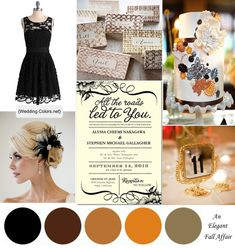 An Elegent Fall Affair: Bronze,Copper, Gold, Pewter and Black Color Palette
