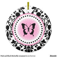 Pink and Black Butterfly ornament