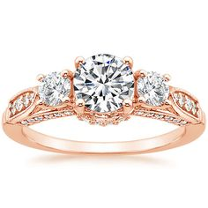 14K Rose Gold Three Stone Heirloom Diamond Ring (1/2 ct. tw.) from Brilliant Earth