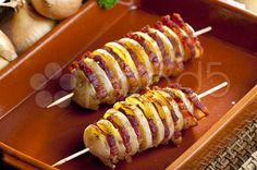 potato skewers with bacon - Stock Footage | by 2@phbcz