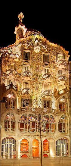 Casa Batllo at Night, Barcelona - Gaudi, by Weston Westmoreland