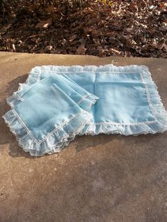 Ruffled Placemats Ruffled Lace Napkins Vintage Placemats Cottage Chic Blue Ruffled Placemats French Country Prairie Farmhouse Luncheon Set on Etsy, $24.00
