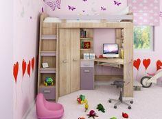 Rohová poschodová posteľ - WIP - Antresola (L) Sonoma + fialová
