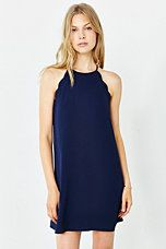High neck navy scallop dress